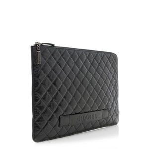 Chanel Crinkled Leather large top zip pouch